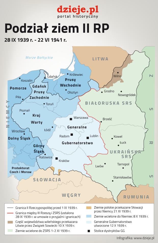 Mapa podziału ziem II Rzeczpospolitej w latach 1939-1941