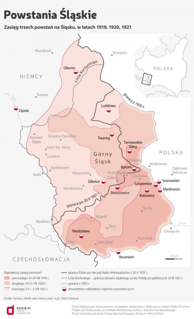 Powstania Śląskie / Infografika PAP