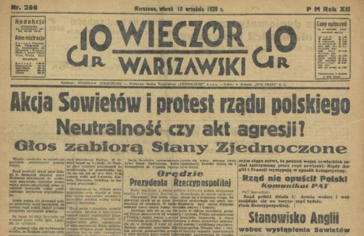 pierwsza strona gazety z 17 września 1939 roku