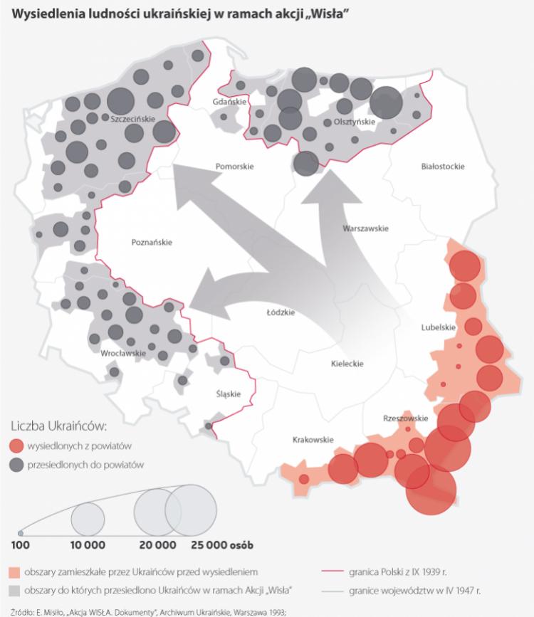 """Akcja """"Wisła"""". Źródło: Infografika PAP"""